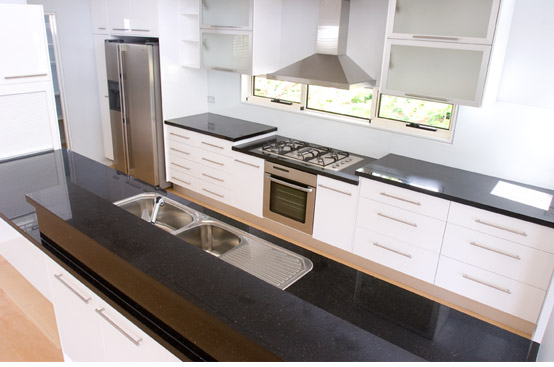 Sarsen Grey doors stainless steel Blum motion draws black granite